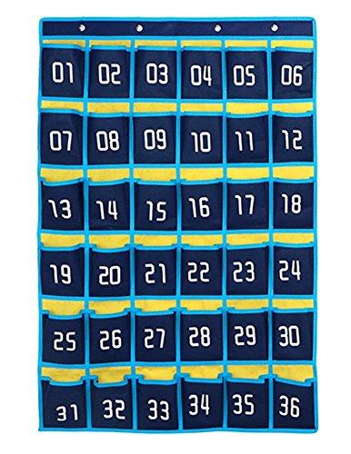 Jedulin 36 Pockets Numbered Classroom Teacher Calendar Scheduling Storage Pocket Chart Wall Door Hanging Organizer for Cell Phones Business Cards