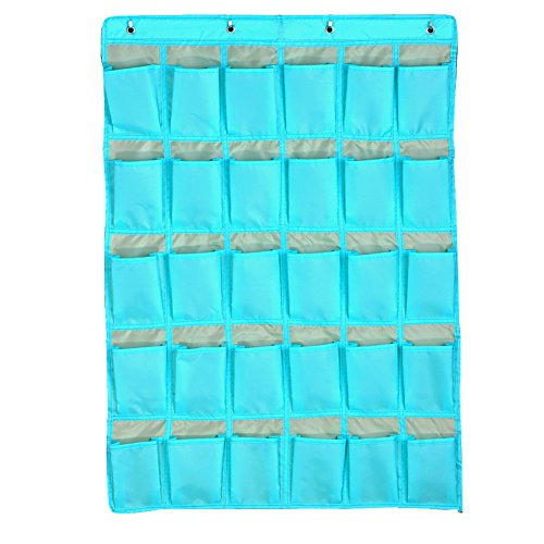 Ozzptuu 30 Pockets Classroom Pocket Charts For Cell Phones Business Cards And Wall Door Closet Mobile Hanging Storage Bag Organizer With Hooks Sky Blue