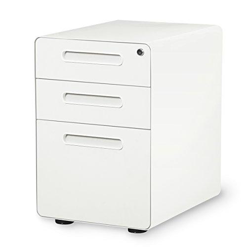 DEVAISE 3-Drawer Mobile File Cabinet with Anti-tilt MechanismLegalLetter Size White