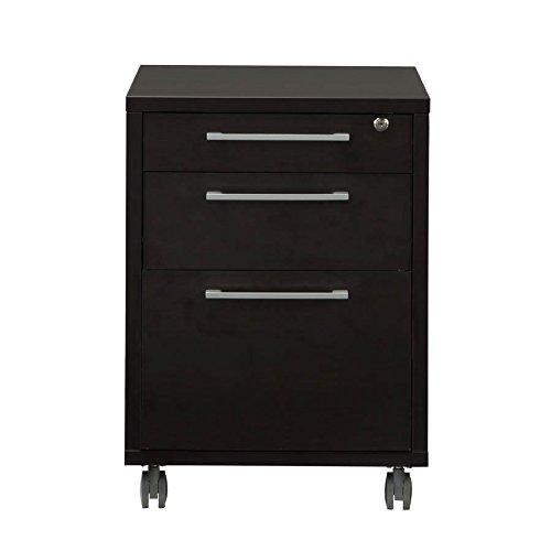 Tvilum 8041820 Pierce 3 Drawer Mobile File Cabinet Coffee