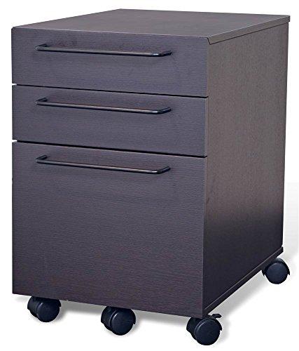 Unique Furniture 211-ESP 3 Drawer Mobile File Cabinet Espresso