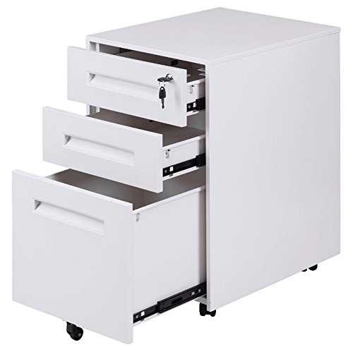 White 3 Drawer Mobile Rolling File Storage Cabinet Heavy Duty Metal Construction Durable And Sturdy Home Office Space Saving Furniture Keeps Your Document Organized Easy To Move Around With 5 Wheels