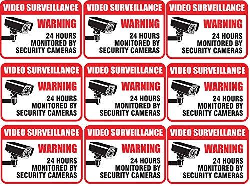 9 Pack Self Adhesive Video Surveillance Sign Vinyl Decal Sticker Indoor Outdoor Use Waterproof