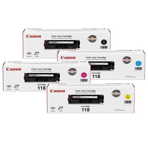 Canon 118 Toner Cartridge Bundle for imageCLASS MF8350MF8580 Color Laser Printer  Black  Cyan  Magenta  Yellow