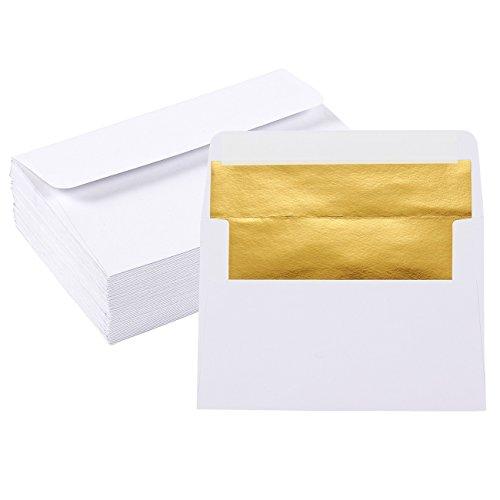 50-Pack A4 Envelopes - 425 x 625 Inches Square Flap Envelopes - Photo Envelopes - Invitation Envelopes for Wedding Invitations - 120gsm White Outside Gold Inside
