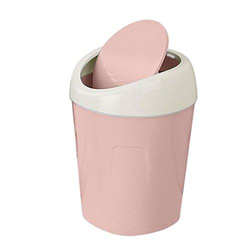 Lavany Mini Desktops Trash Can Trumpet Desktops Trash Cans Covered Living Room Office Kids Bedroom Pink