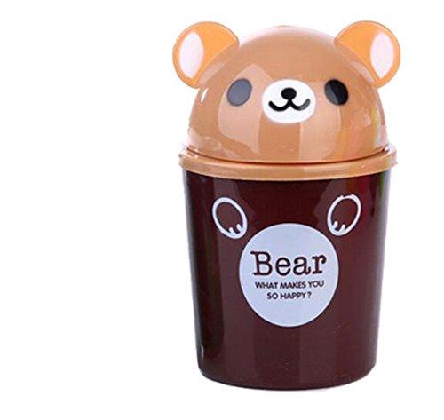 OUUD Creative Cartoon Animals Plastic Desktop Trash Can Mini Desktop Storage Box4L Bear