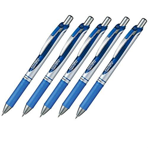 Pentel EnerGel Deluxe RTX Retractable Liquid Gel Pen07mm Fine Line Metal Tip Blue Ink-Value set of 5 With Our Shop Original Product Description