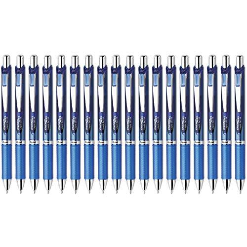 Pentel EnerGel Deluxe RTX Retractable Liquid Gel Pen 07mm Medium Line Blue Pack of 18