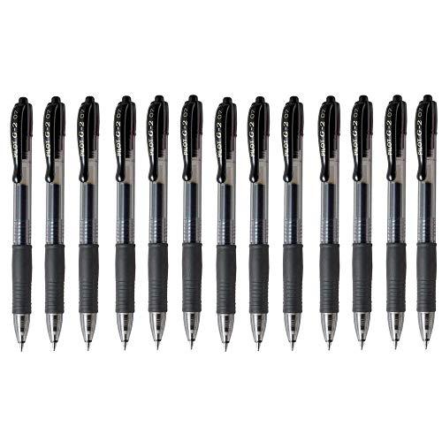 Pilot G2 07 Black Fine Retractable Gel Ink Pen Rollerball 07mm Nib Tip 039mm Line Width Refillable BL-G2-7 Pack Of 13