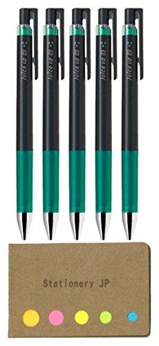 Pilot juice up 03 Retractable Gel Ink Pen Hyper Fine Point 03mm Green Ink 5-Pack Sticky Notes Value Set