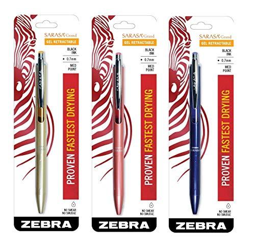 Zebra Sarasa Grand Retractable Gel Ink Pen Gold Barrel Medium Point 07mm Black Ink 1-Count 3 Gold Navy Rose Gold