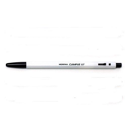 MUNHWAs 5pcs of 07mm campus ball point pen Black  Roller Ink Grip