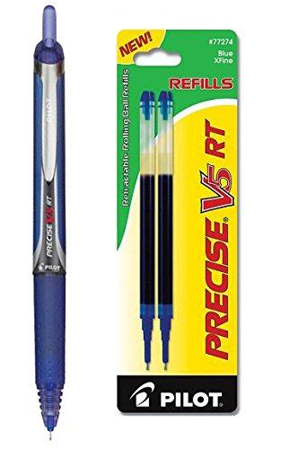Pilot Precise V5 RT Rolling Ball Extra Fine Point Blue Ink 1 Pen 2 Refills