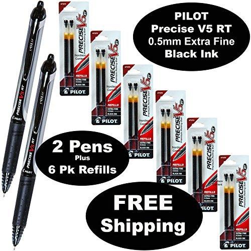 Pilot Precise V5 Rt 2 Pens 26062 with 6 Packs of Refills Black Ink 05mm X-fine