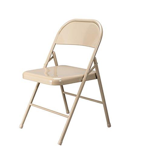 Essentials Multipurpose Metal Folding Chair Antique Linen  Tan - 4 Pack ESS-8200-ALN