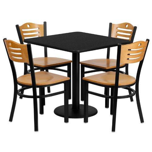 Flash Furniture 30 Square Black Laminate Table Set with 4 Wood Slat Back Metal Chairs - Natural Wood Seat