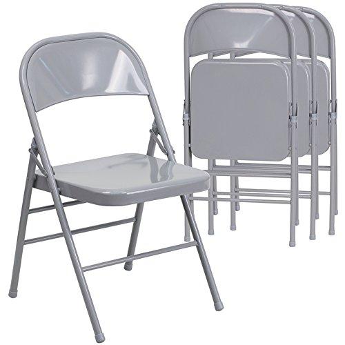 Flash Furniture 4 Pk HERCULES Series Triple Braced Double Hinged Gray Metal Folding Chair