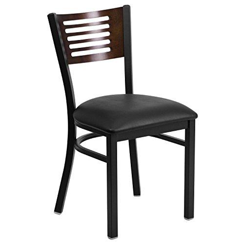 HERCULES Series Black Slat Back Metal Restaurant Chair - Walnut Wood Back Black Vinyl Seat