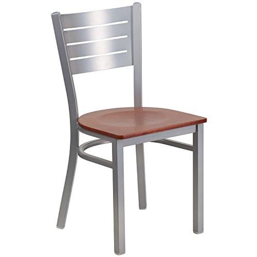 HERCULES Series Silver Slat Back Metal Restaurant Chair - Cherry Wood Seat