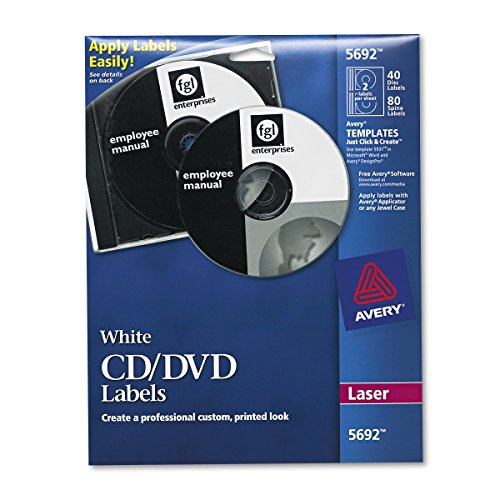 Avery White CD Labels for Laser Printers 40 Disc Labels and 80 Spine Labels 5692