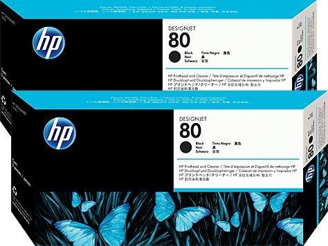 2-PACK OEM HP 80 Black Printhead and Printhead Cleaner PN C4820A