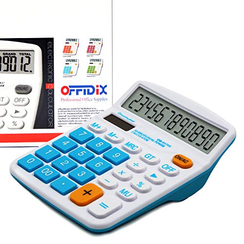 OFFIDIX Office Desktop Calculator Solar and Battery Dual Power Electronic Calculator Portable 12 Digit Large LCD Display Calculator Calculators Large Display Blue