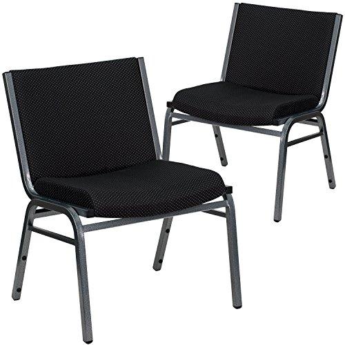 Flash Furniture 2 Pk HERCULES Series Big Tall 1000 lb Rated Black Fabric Stack Chair