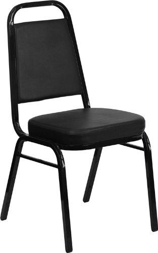 Flash Furniture HERCULES Series Trapezoidal Back Stacking Banquet Chair in Black Vinyl - Black Frame