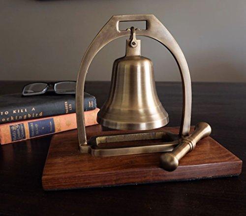 Antiqued Brass Desk Bell with Striker