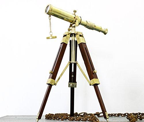 Maritime Brass Table Telescope Nautical Desktop Tripod Shiny Brass Collectible Gift Love