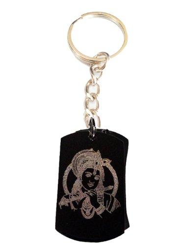 Hindu Lord Krishna Playing Flute Meditation Religion Religious Logo Symbols - Metal Ring Key Chain Keychain