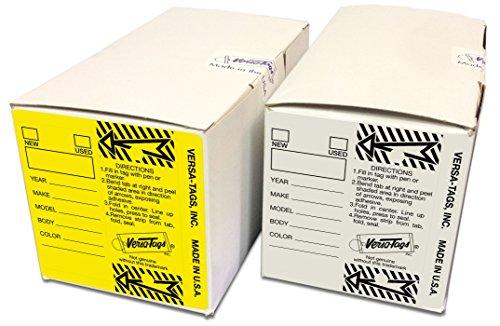 YELLOW WHITE BUNDLE - Genuine Versa-Tag Key Tags Self-Protecting 2 Boxes 250 tags per box with metal rings