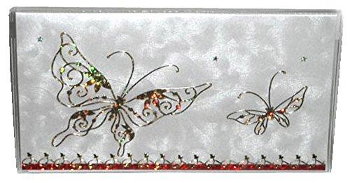 2017-18 PLUS 2018-19 Gold  Silver Butterfly w Red Trim Calendar Planner Datebook w Note Pad