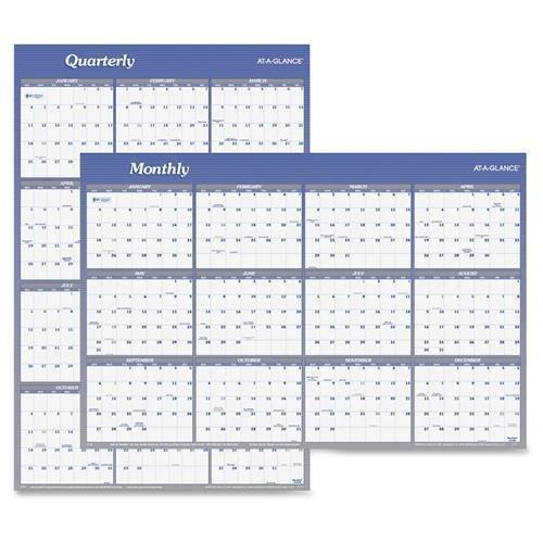At-A-Glance Erasable Wall CalendarwMarkerJan-Dec2-Sided36x24Blue A1102