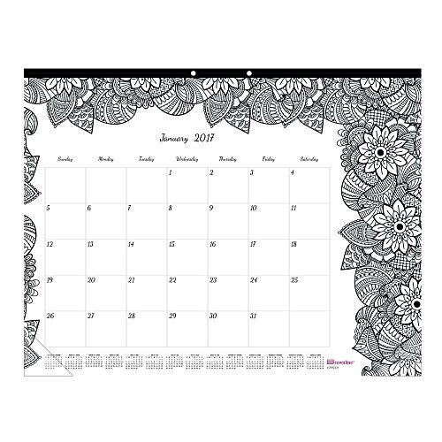 Blueline DoodlePlan Desk Pad Calendar wColoring Pages 22 x 17 2018 C2917311