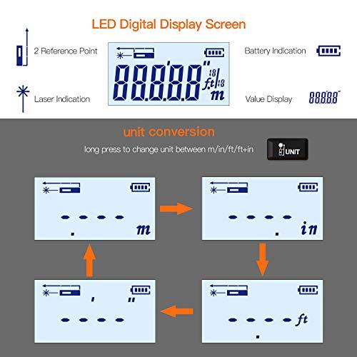 WMG& Tape Measure 2 in 1 40M60M Measuring Digital Tape Measure 5M Tape Measure LCD Digital Display Tape High Precision Electronic Tape Measure60m