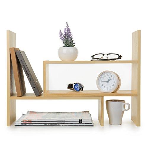 Adjustable Natural Wood Desktop Storage Organizer Display Shelf Rack Counter Top Bookcase Beige