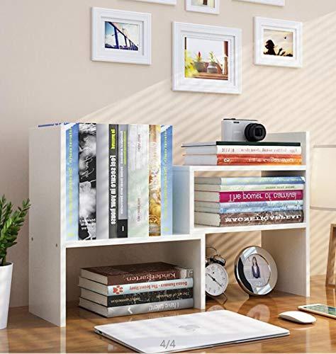 Expandable Wood Desktop Bookshelf Desktop Organizer Office Storage Rack Wood Display Shelf - Free Style Display True Natural Stand Shelf Rack Assembled Bookcase Adjustable Display Rack White
