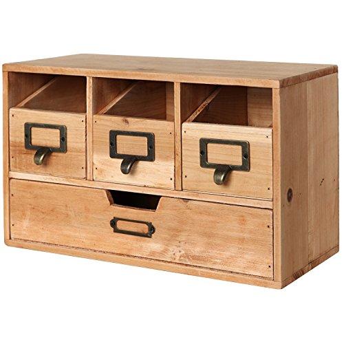 MyGift Rustic Brown Wood Desktop Office Organizer DrawersCraft Supplies Storage Cabinet