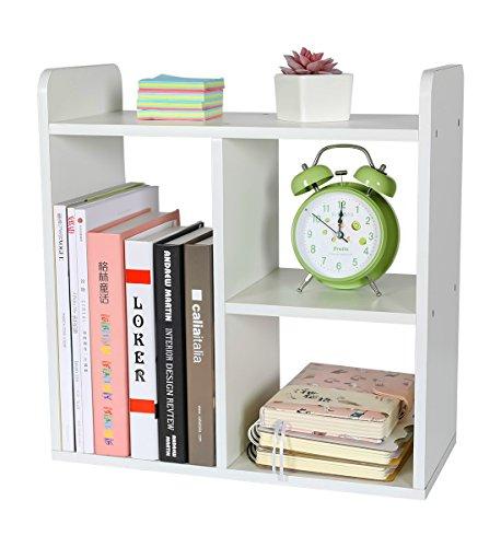 PAG Desktop Bookshelf Freestanding Countertop Bookcase Wood Desk Organizer Literature Photo Display Rack White