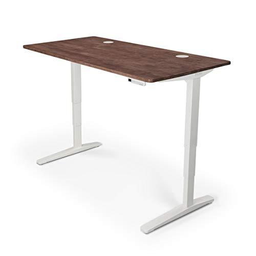 UPLIFT Desk - V2 Dark Brown Rubberwood Solid Wood Desktop Standing Desk Height Adjustable Frame White Advanced Memory Keypad Wire Grommets White Bamboo Motion-X Board 80 x 30