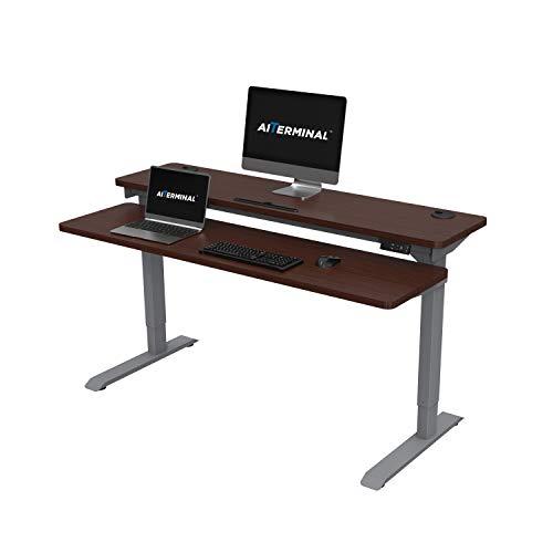 AITERMINAL Electric Stand Up Desk 2 Tiers Dual Motor-Height Adjustable Desk 59 Grey FrameWalnut Top