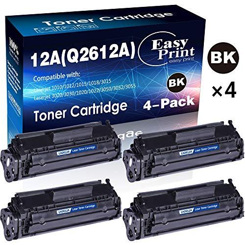 4-Pack Black Compatible 12A Q2612A Toner Cartridge 2612A Used for HP Laserjet Laserjet Pro 1010 1012 1018 1020 1022 1022n 3015 3030 3050 3052 3055 M1319F Printer by EasyPrint