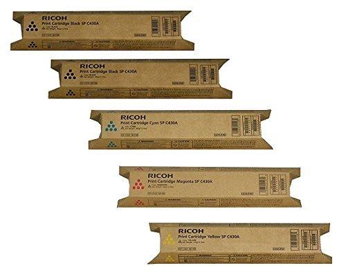Genuine 2 Black 1 of Each Color Ricoh AFICIO SP C430A C430DN High Yield Toner Bundle Set 821105 821106 821107 821108 BCYM Sealed in Retail Packagin