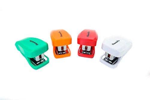PraxxisPro Stapler Set Mini Staplers Built-In Staple Remover Set of 4 Red White Orange Green