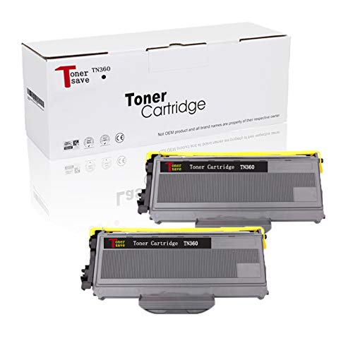 Tonersave Compatible TN360 TN-360 TN330 Toner Cartridge for Brother HL-2140 HL-2170 HL-2170W MFC-7840W MFC-7440N DCP-7040 DCP-7045N Ricoh Aficio SP 1200 Laser Printer Black2-Pack