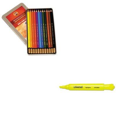 KITKOHFA372212BCUNV08861 - Value Kit - Koh-I-Noor Mondeluz Wood Pencil KOHFA372212BC and Universal Desk Highlighter UNV08861