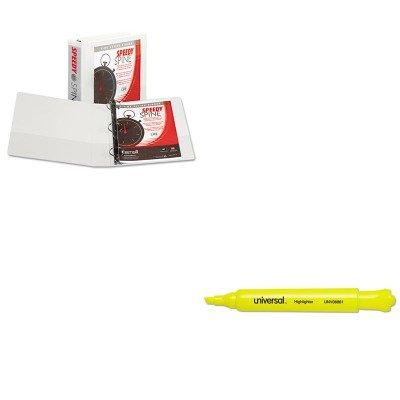 KITSAM18167CUNV08861 - Value Kit - Samsill Speedy Spine Round Ring View Binder SAM18167C and Universal Desk Highlighter UNV08861