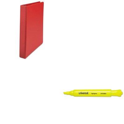 KITUNV08861UNV20763 - Value Kit - Universal D-Ring Binder UNV20763 and Universal Desk Highlighter UNV08861